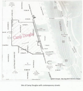 Site of Camp Douglas with contemporary streets